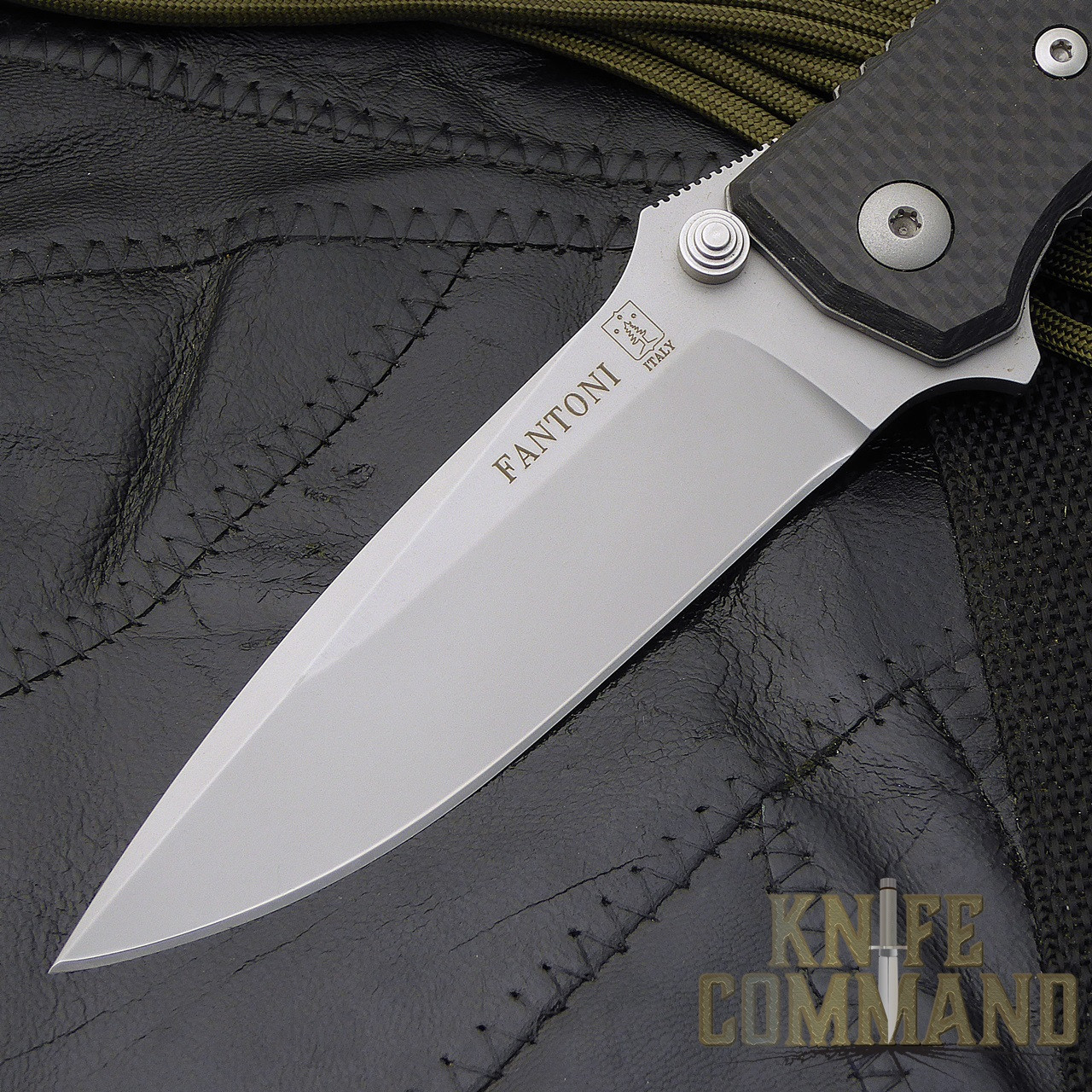 Fantoni HB 01 William Harsey Carbon Fiber Combat Folder Tactical Knife.  Flipper blade deployment.