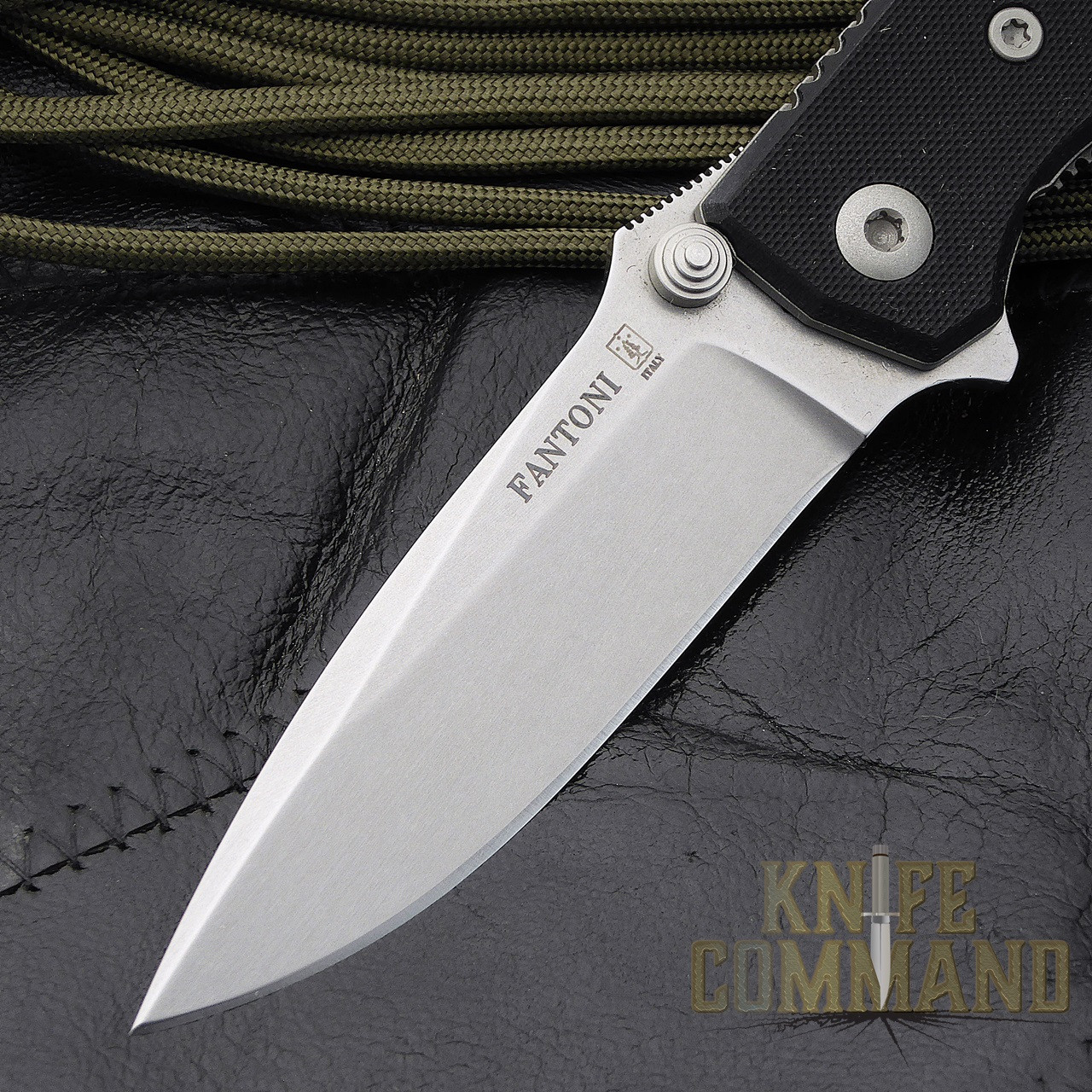 Fantoni HB 02 Black William Harsey Combat Folder Tactical Knife.  Flipper and thumbstuds.
