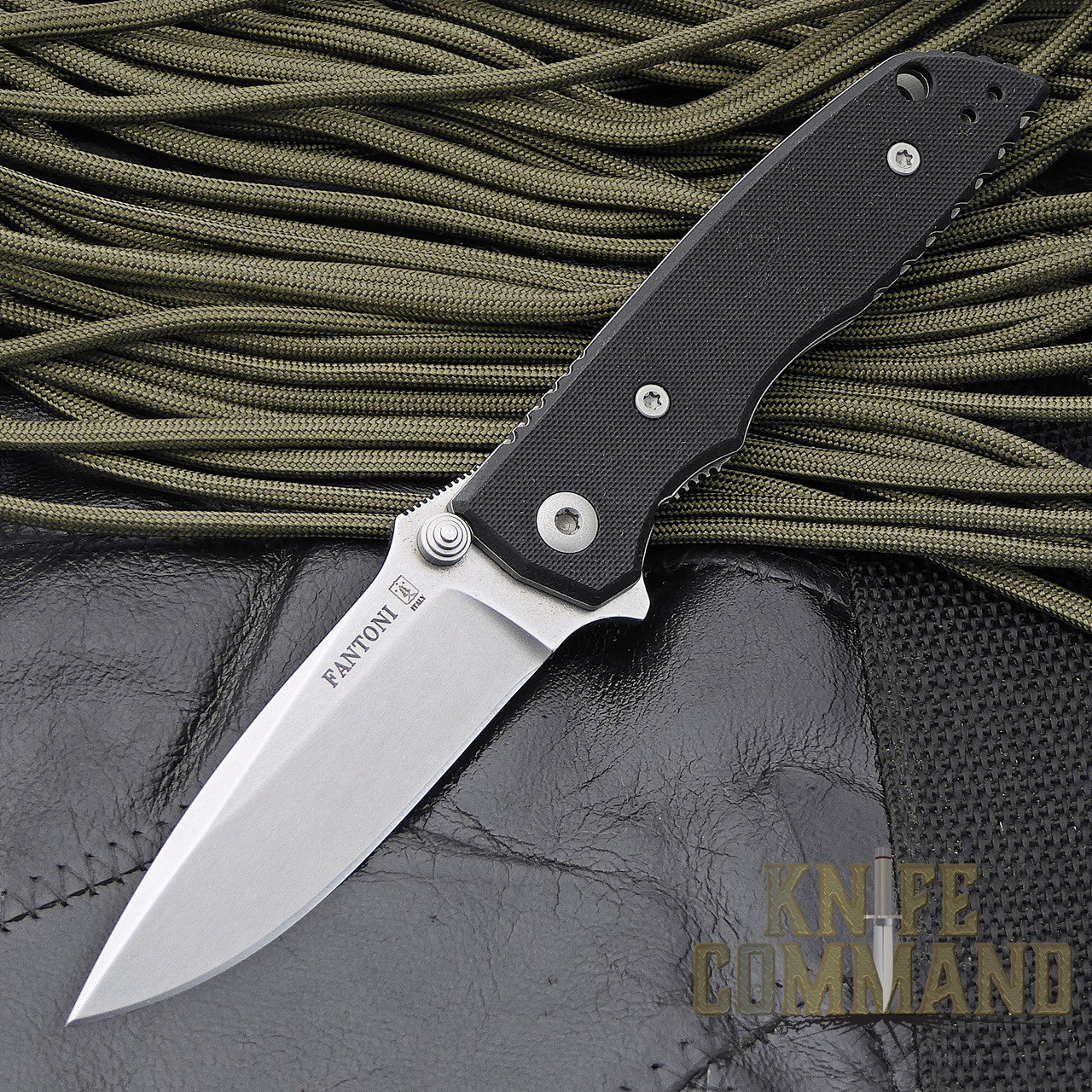 Fantoni HB 02 Black William Harsey Combat Folder Tactical Knife.  Small version of HB 01 Combat Folder.