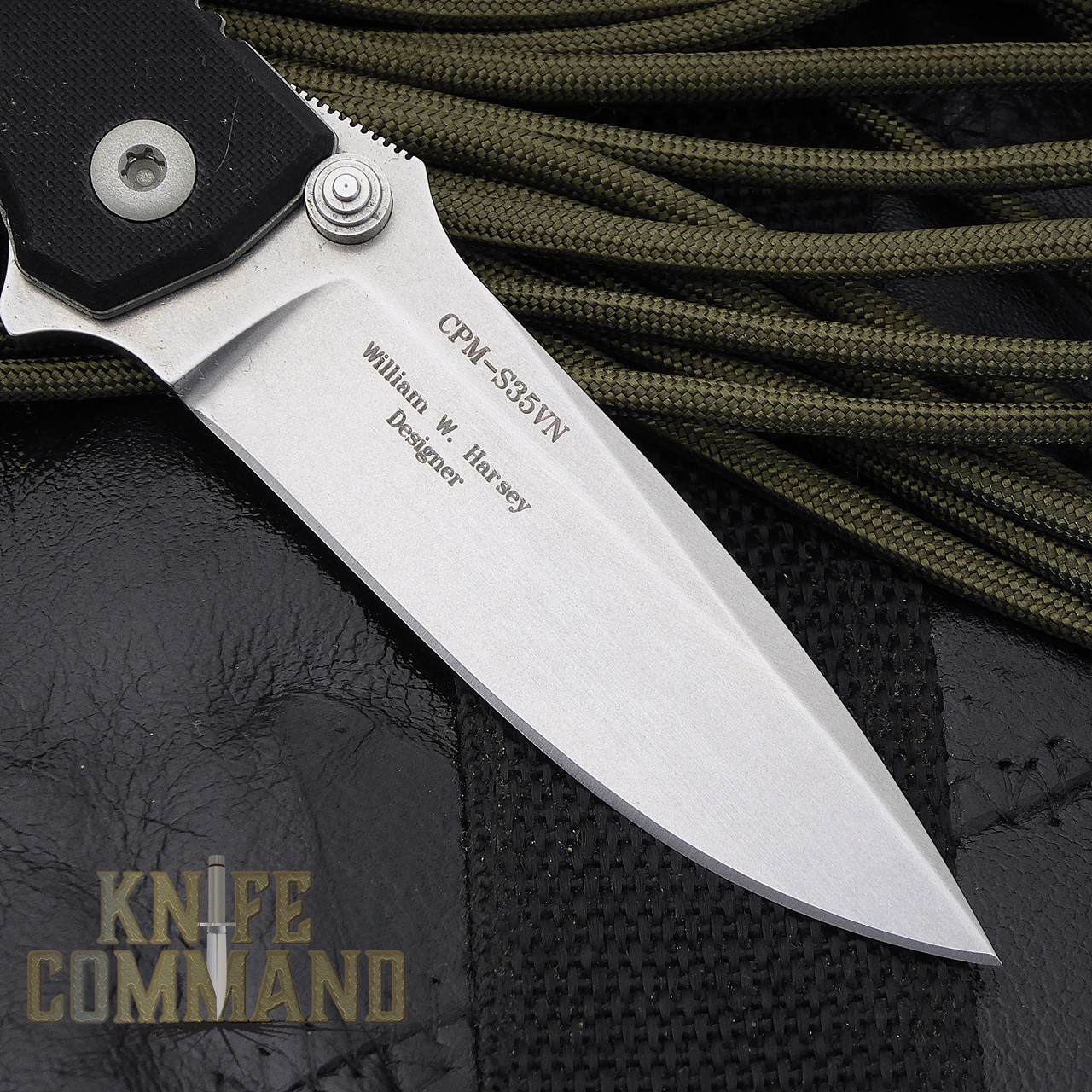 Fantoni HB 02 Black William Harsey Combat Folder Tactical Knife.  CPM-S35VN blade.