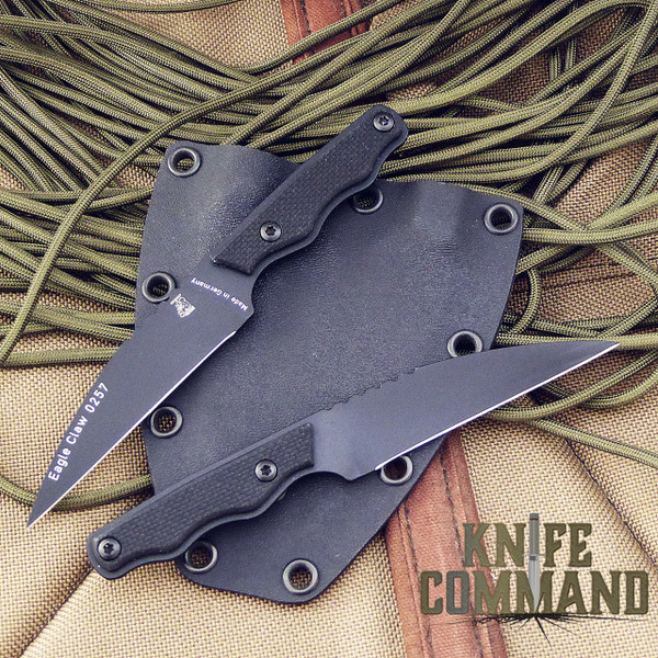 Eickhorn Solingen Eagle Claw Twin Neck Knife Set.  Two Eagle Claw knives, one sheath.