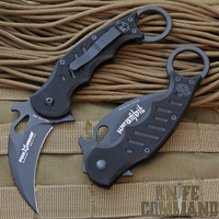 Fox Folding Karambit.  G10 handle, black teflon coated blade.  Flipper with Emerson wave.