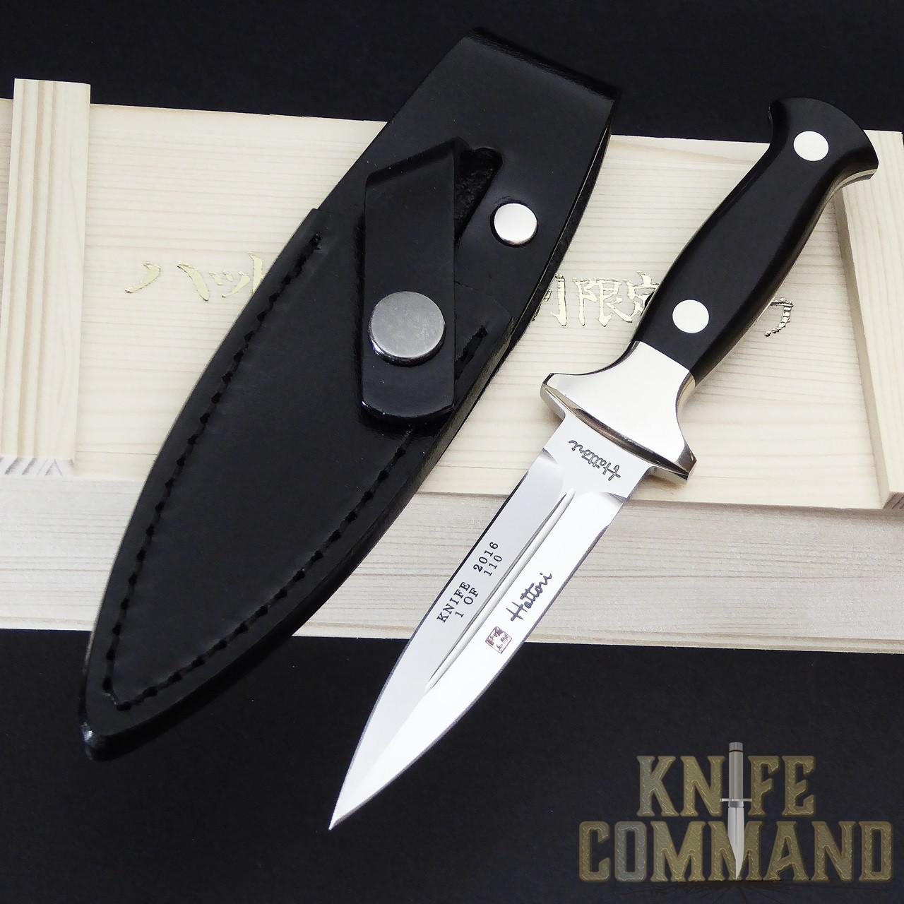 Hattori Knives Model 983A Dagger 2016 Knife of the Year.  Nice black belt sheath.