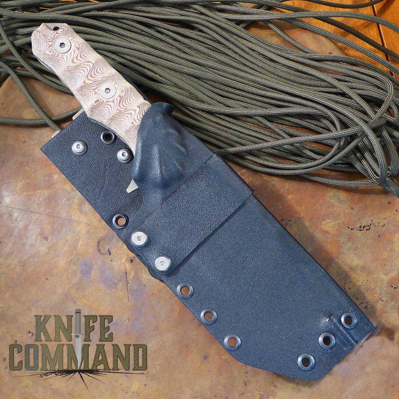 Wander Tactical Lynx Survival Knife Fire Micarta Dark Earth Gunkote.  Kydex sheath with belt adapter.