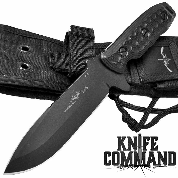 Emerson Government Mule Fixed Blade Knife BT.  154CM, Black Cerakote, G10, awesome.