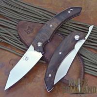 Fox Knives Bastinelli Slim Piemontes Dragotac Ziricote Wood Compact Friction Folder.  Higonokami style.