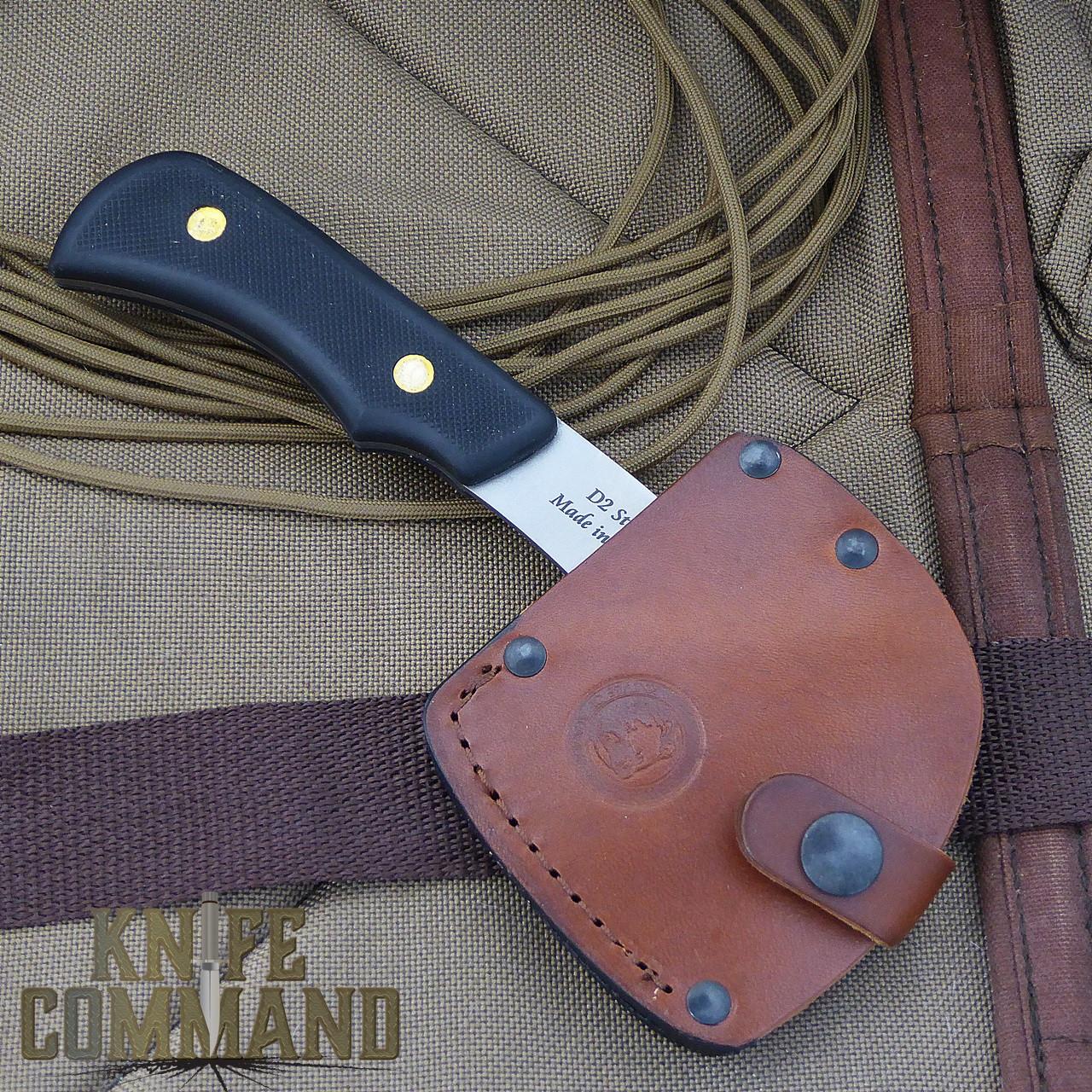 Knives of Alaska Bobcat Mini Hatchet 00960FG.  Custom leather sheath.