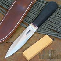 Randall Made Knives Model 24 Guardian Black Micarta Custom False Edge Boot Knife.  Only one edge sharpened.