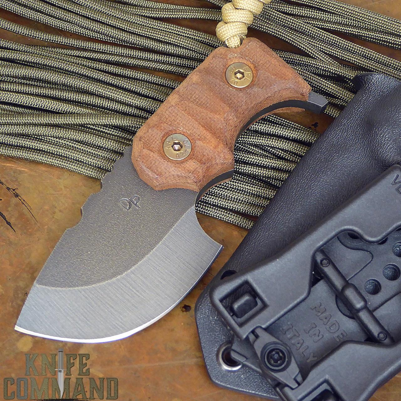 Wander Tactical Tricertops Knife Cherry Brown Micarta Raw Gunkote.  A great EDC knife.