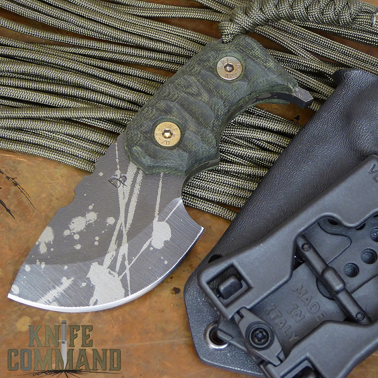 Wander Tactical Tricertops Knife Dark Forest Micarta Evil Black Blood Gunkote.  A great knife for every day carry.
