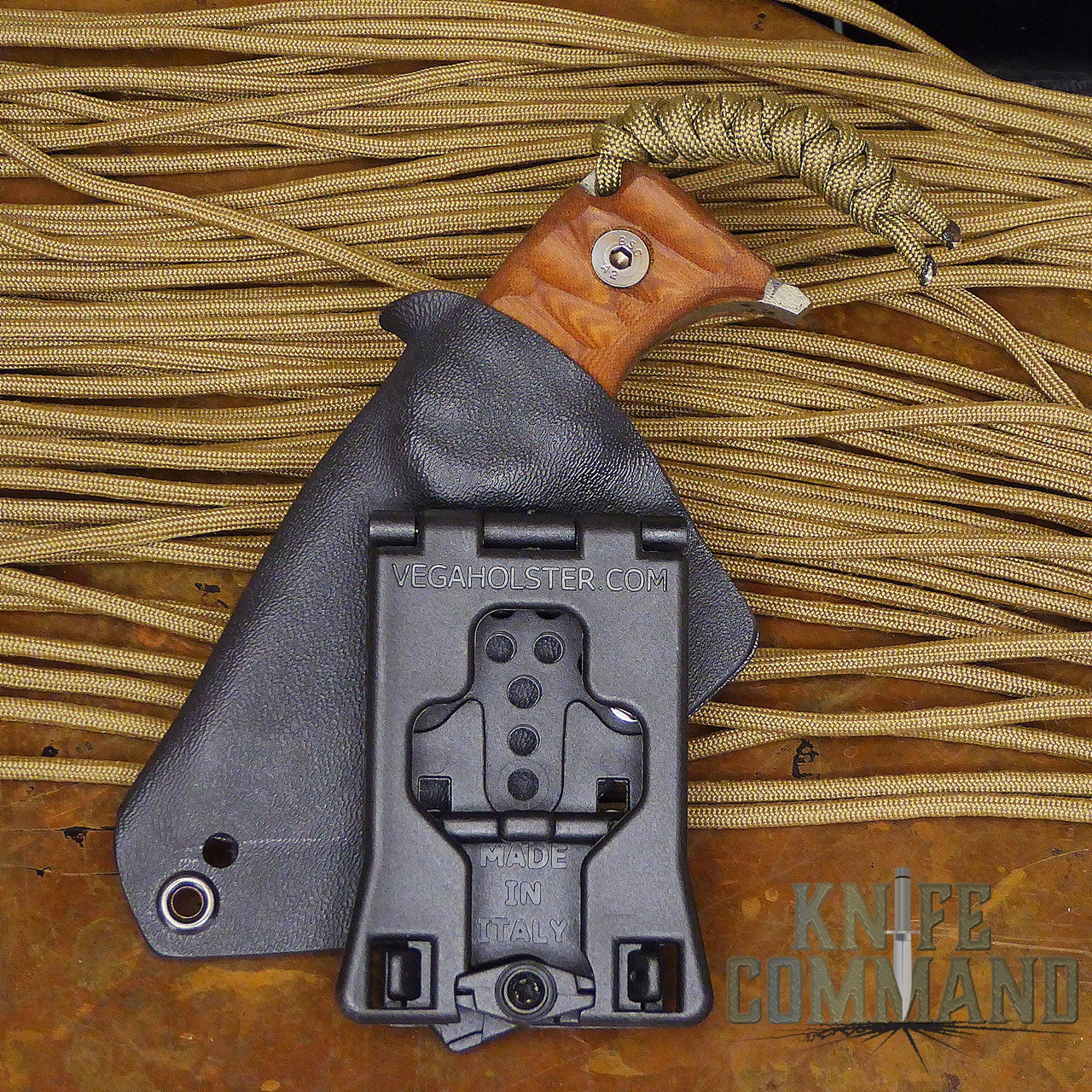 Wander Tactical Tricertops Knife Cherry Brown Micarta Black Blood Gunkote.  VegaHolster belt attachment.