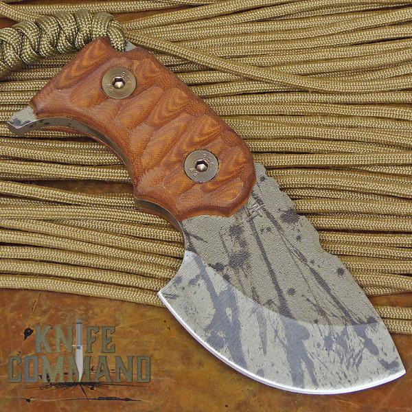 Wander Tactical Tricertops Knife Cherry Brown Micarta Black Blood Gunkote