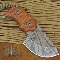 Wander Tactical Tricertops Knife Cherry Brown Micarta Black Blood Gunkote