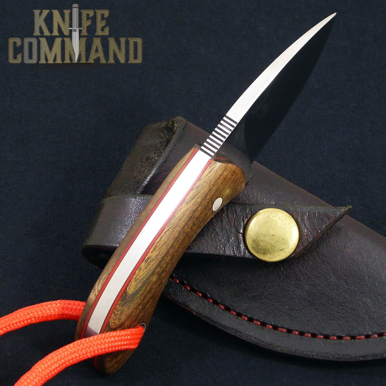 """Smyth Knives Irish Elm """"Pocket"""" Knife.  Red spacers and thumb notches."""