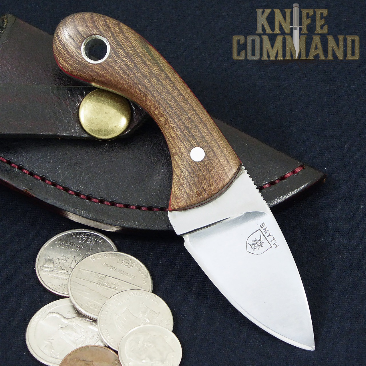 "Smyth Knives Irish Elm ""Pocket"" Knife.  Coins shown for size perspective."