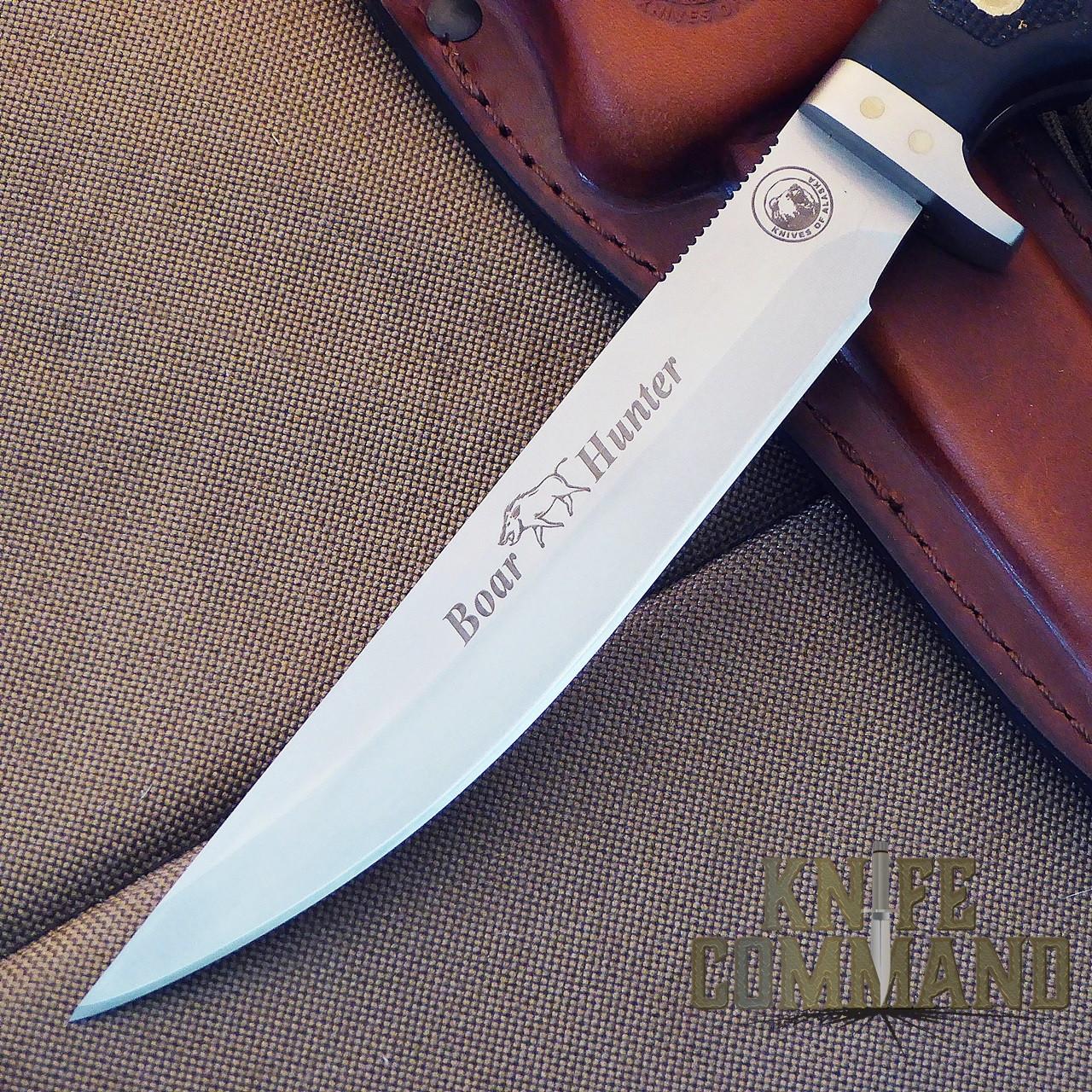 Knives of Alaska Boar Hunter Hunting Knife.  Straight spine for excellent penetration.