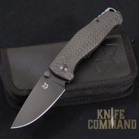 Fox Knives Vox Tur Folding Knife Carbon Fiber Black Blade.  Black PVD coated Elmax steel.