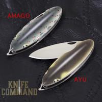 G Sakai Keychain Knife Fish of the Nagara River.  Slim design for keychain or pocket.  Framelock and VG-10 blade.