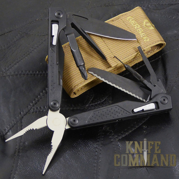 Gerber MP1-AR Weapons Multi-Tool Butterfly Opening Multi-Tool.  Everything you need for the AR-15 / M4 / M16 weapon system and a MOLLE compatible coyote nylon sheath.
