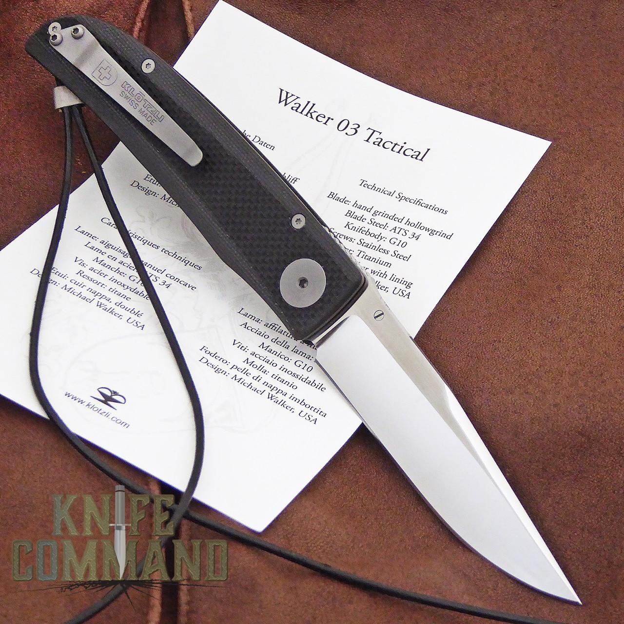 Klotzli Knives Michael Walker 03 Tactical Folding Knife Black WALK-03-TAC-C.  With pocket clip and papers.