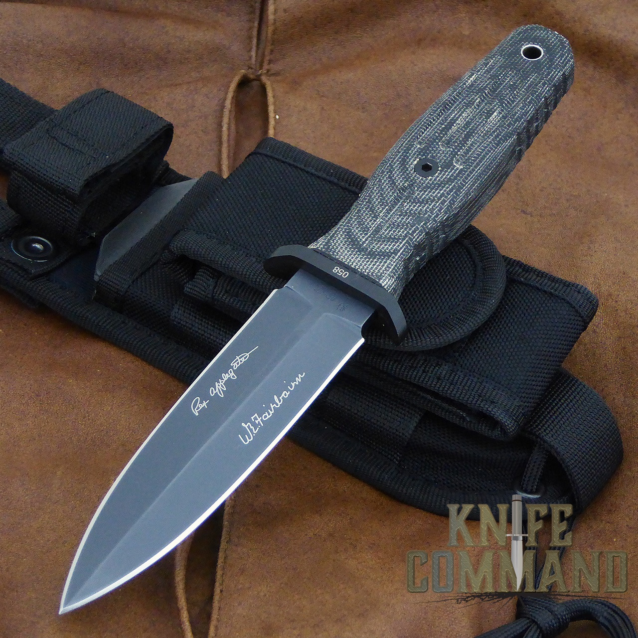 "Boker Applegate-Fairbairn A-F 4.5 Black Harsey Combat Knife 121644.  Compact design with 4-1/2"" blade."