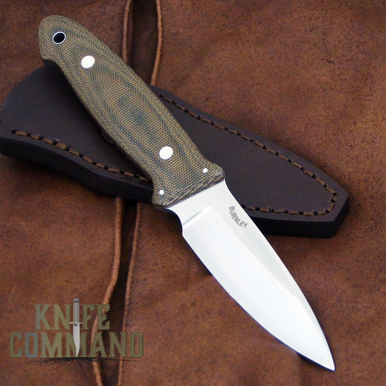 Boker Cub Lucas Burnley EDC Fixed Blade Knife 120661.   Burnley design, Burnley on the blade.