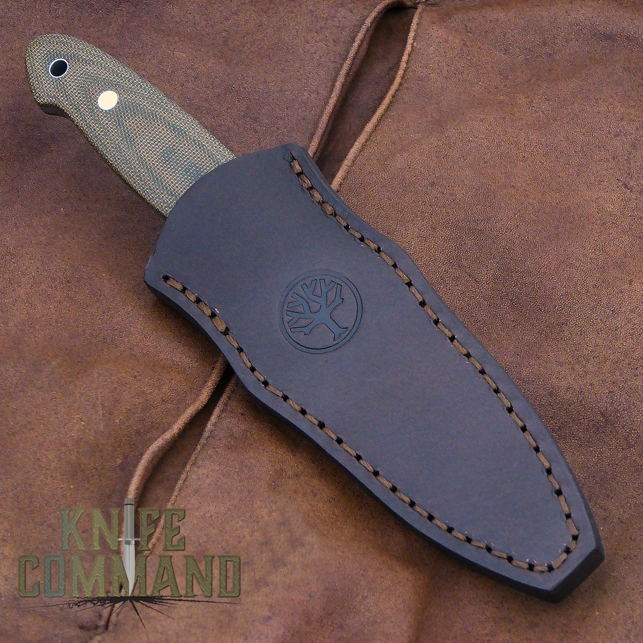 Boker Cub Lucas Burnley EDC Fixed Blade Knife 120661.  Brown leather, quiver style belt sheath.