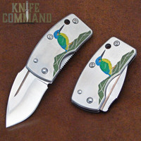 G Sakai Skull Wildlife Series Kawasemi Kingfisher Money Clip Pocket Knife 11167.  Beautiful artwork.