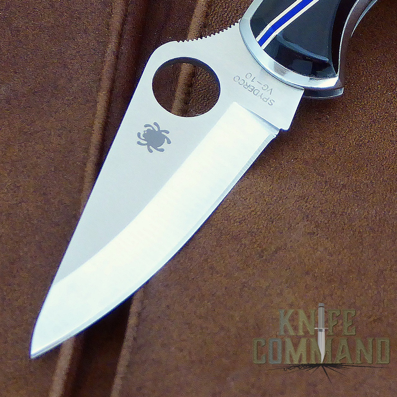 Spyderco Delica Santa Fe Stoneworks Blue Line Special Knife.  VG-10 fine edge blade.