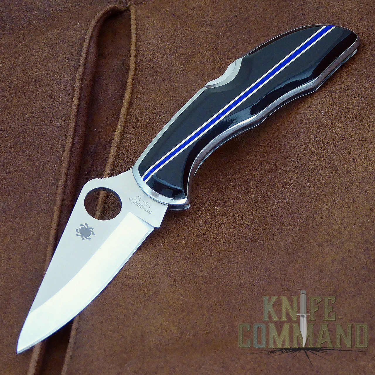 Spyderco Delica Santa Fe Stoneworks Blue Line Special Knife.  A Knife Command Exclusive.