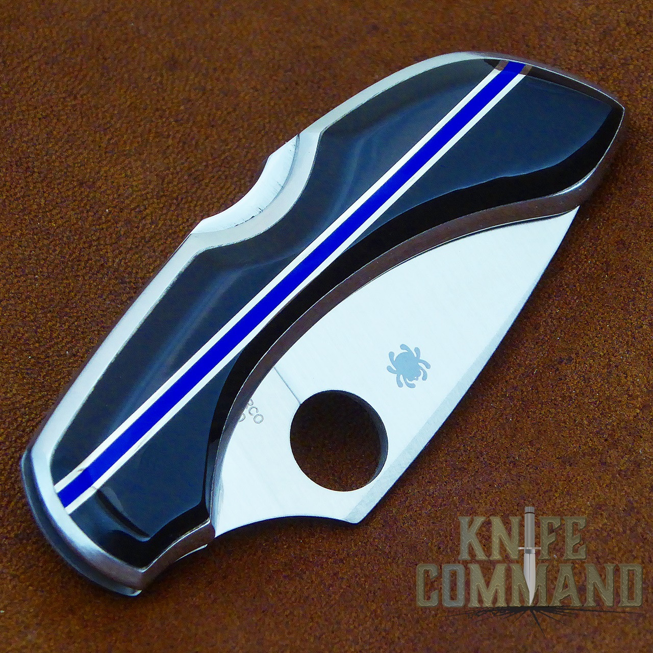 Spyderco Dragonfly Santa Fe Stoneworks Blue Line Special Knife.  Genuine Jet and Lapis gemstone handle.