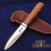 Randall Made Knives Model 24 Guardian Thuya Burl and Brass Boot Knife.  Classy concealed carry.