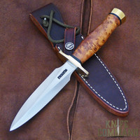 Randall Made Knives Model 2 5 SS Fighting Stiletto Knife Thuya Burl and Brass.  Stainless steel and Thuya Burl Wood.