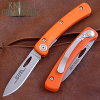 Knives of Alaska Featherlight Hunter Pocket Knife Blaze Orange 00450FG.  Hi-vis G10 handle with D2 blade.