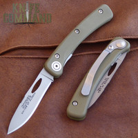 Knives of Alaska Featherlight Hunter Pocket Knife OD Green 00452FG.  Handsome OD G-10 handle with D2 blade.