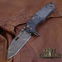 Wander Tactical Custom Hurricane TI Extreme Duty Folding Knife Ice Brush Black Micarta.  Custom Ice Brush blade finish.
