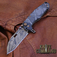 Wander Tactical Custom Hurricane TI Extreme Duty Folding Knife Black Blood Black Micarta.  Custom Black Blood blade finish.