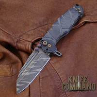 Wander Tactical Custom Mistral TI Extreme Duty Folding Knife Ice Brush Black Micarta.  Custom Ice Brush blade finish.