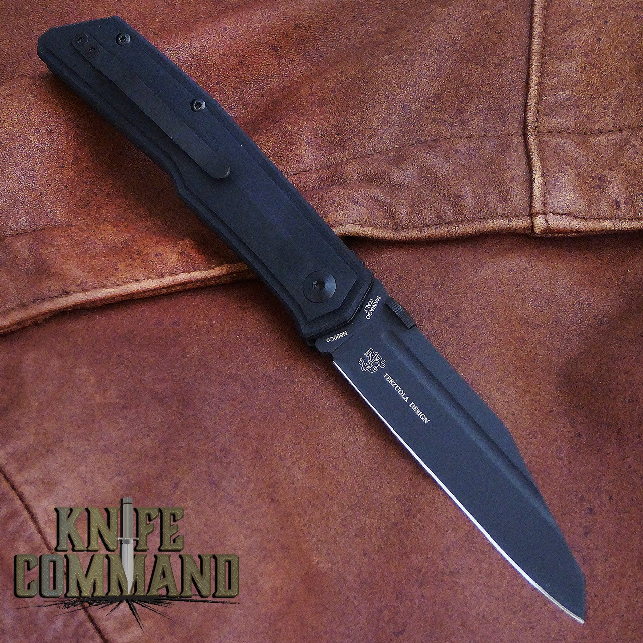 Fox Knives Bob Terzuola Tactical Black G-10 Liner Lock Pocket Knife FX-515.  G-10 with a pocket clip.