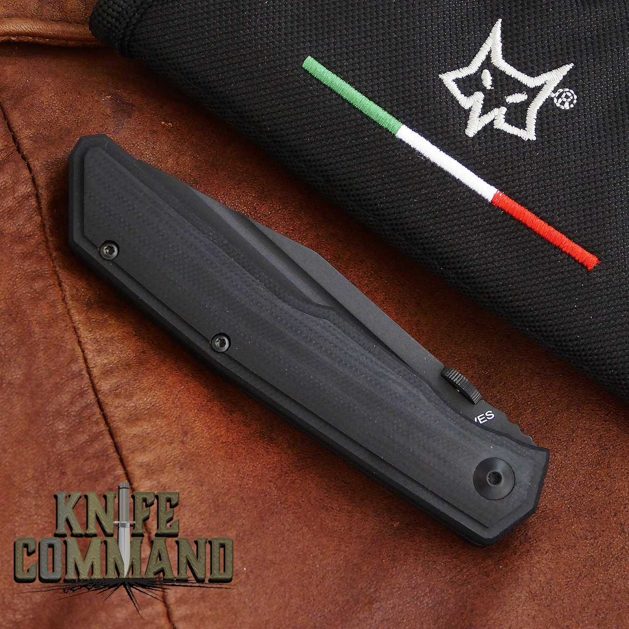 Fox Knives Bob Terzuola Tactical Black G-10 Liner Lock Pocket Knife FX-515.  Zippered pouch included.