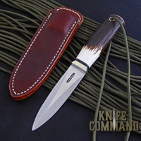 Randall Made Knives Model 24 Guardian Stag Boot Knife Wrist Thong BS.  Stag and a wrist thong.