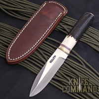 """Randall Made Knives Non-Catalog Model Gambler 4"""" Stag Boot Knife w/Compass.  Stag handle with brass hilt."""