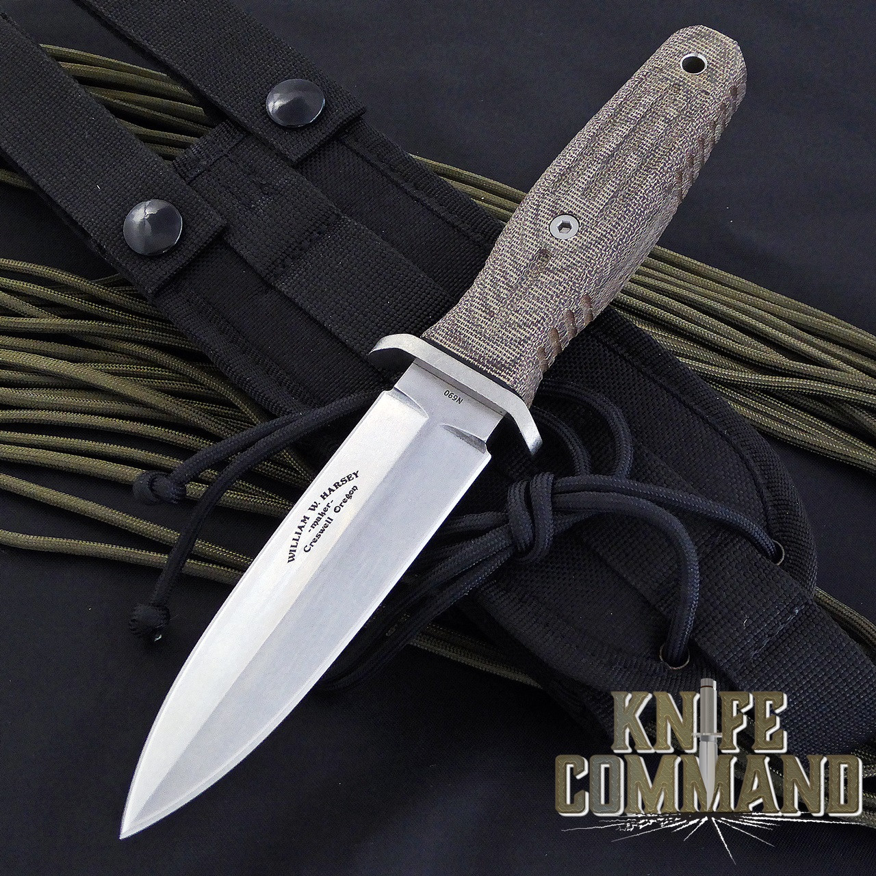 Boker Applegate-Fairbairn A-F 4.5 Harsey Combat Knife 120644.  Green micarta and stonewash blade.