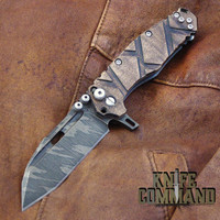 Wander Tactical Custom Hurricane TI Extreme Duty Folding Knife Ice Brush Natural Maple.  Natural Maple handles with polished hardware.