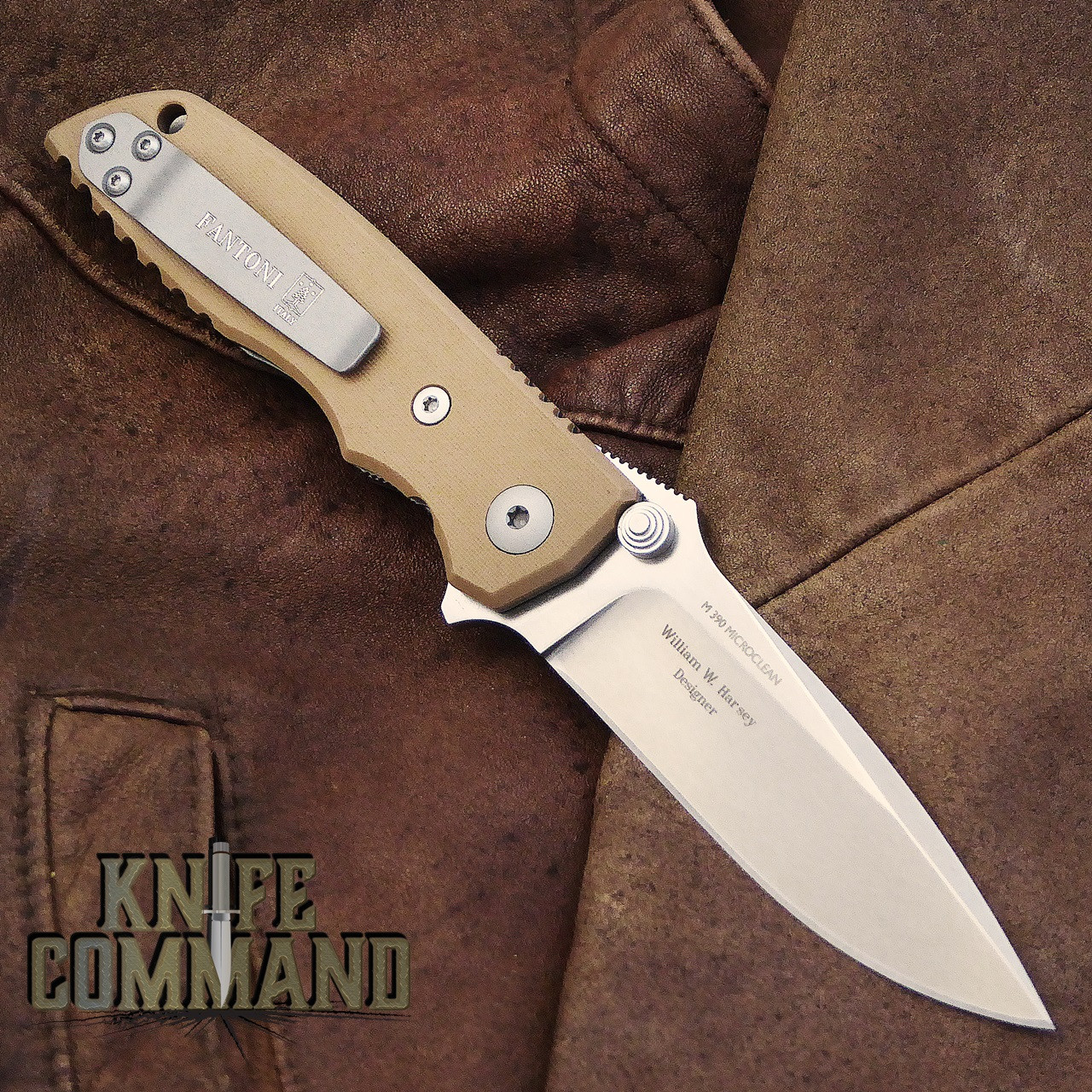 Fantoni HB 03 M390 William Harsey Combat Folder Tactical Knife Coyote Tan.  Titanium liners.