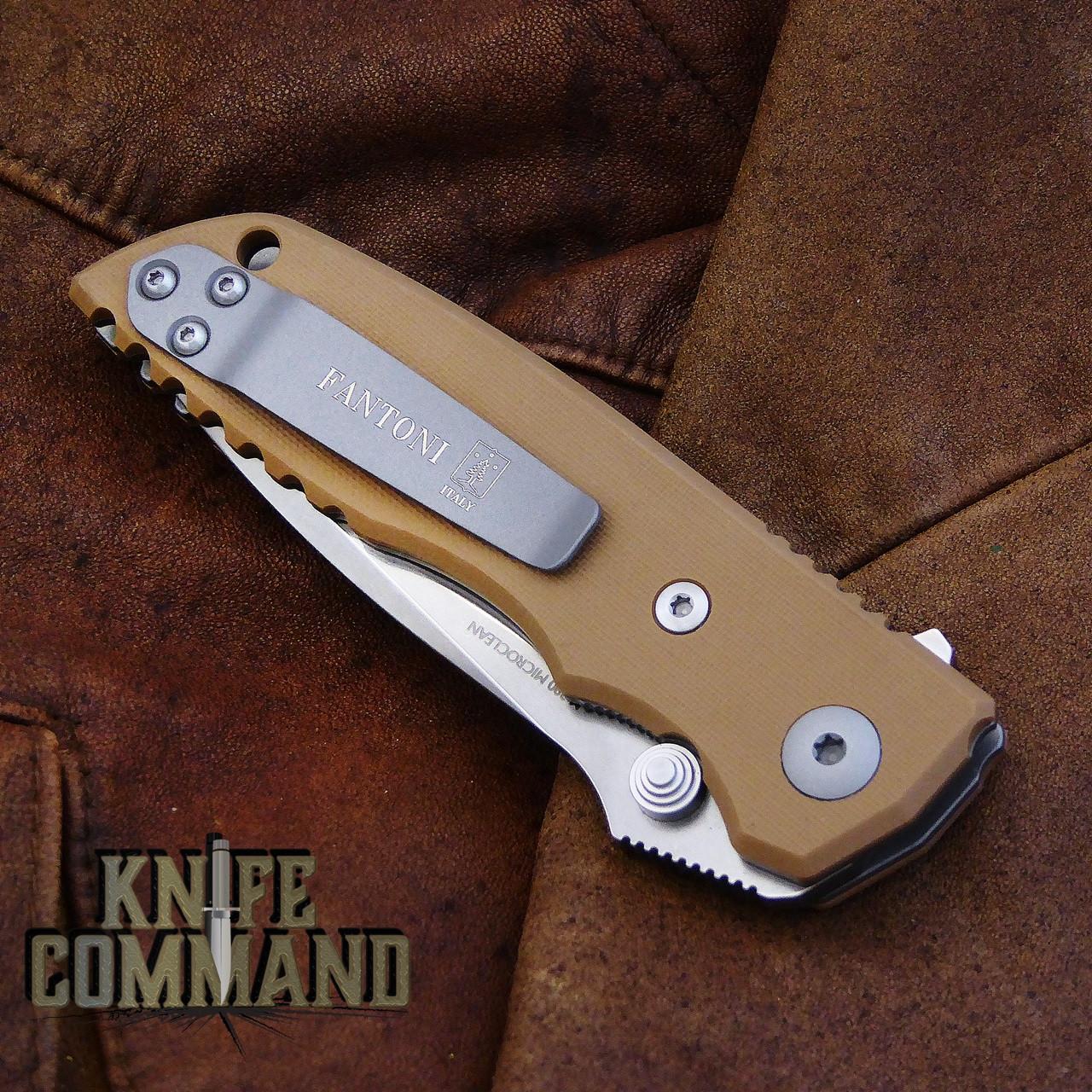 Fantoni HB 03 M390 William Harsey Combat Folder Tactical Knife Coyote Tan.  Reversible pocket clip.