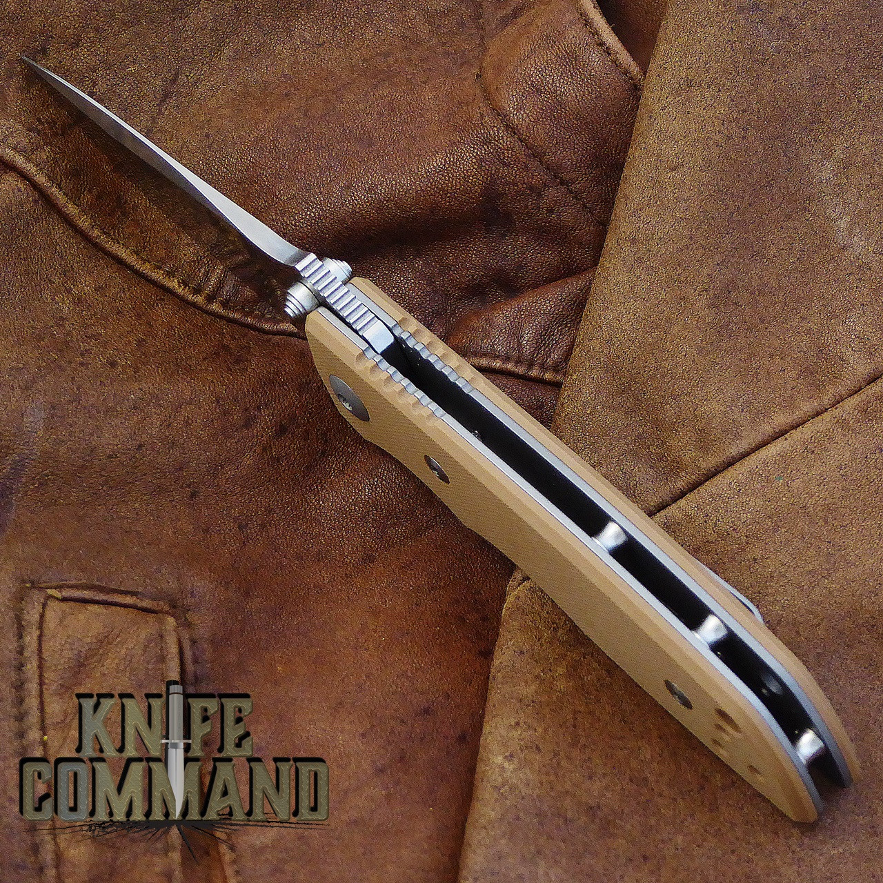 Fantoni HB 03 M390 William Harsey Combat Folder Tactical Knife Coyote Tan.  Open back for easy cleaning.