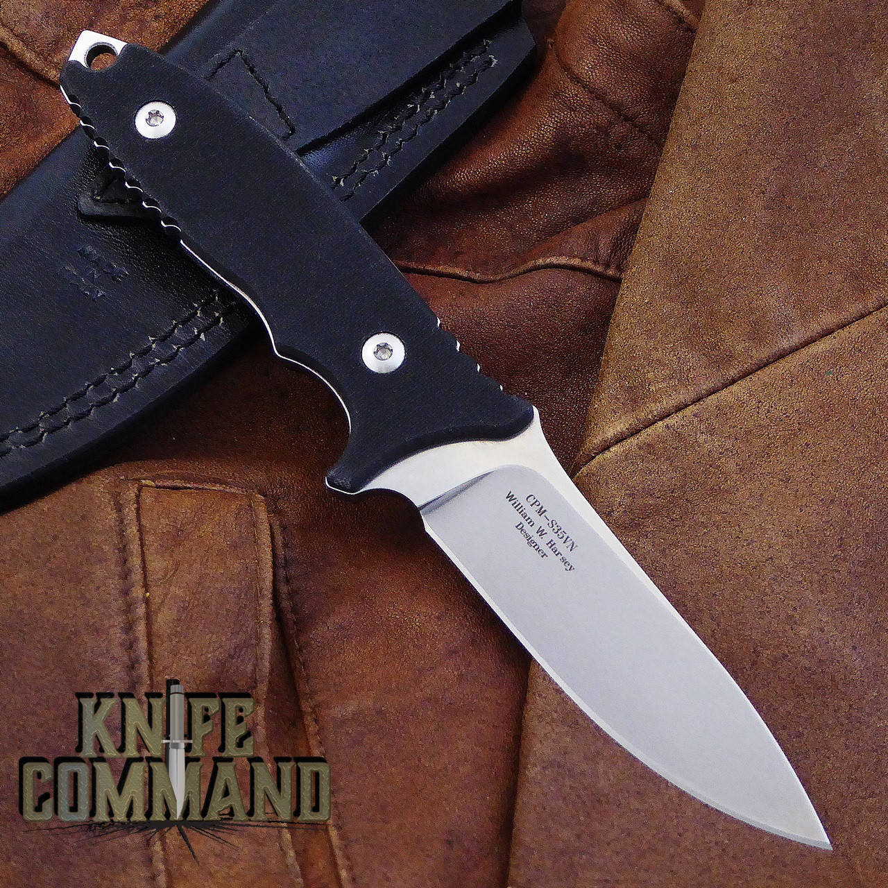 Fantoni HB Fixed Blade William Harsey Combat Tactical Knife S35VN Leather.  Black G-10 with exposed tang.