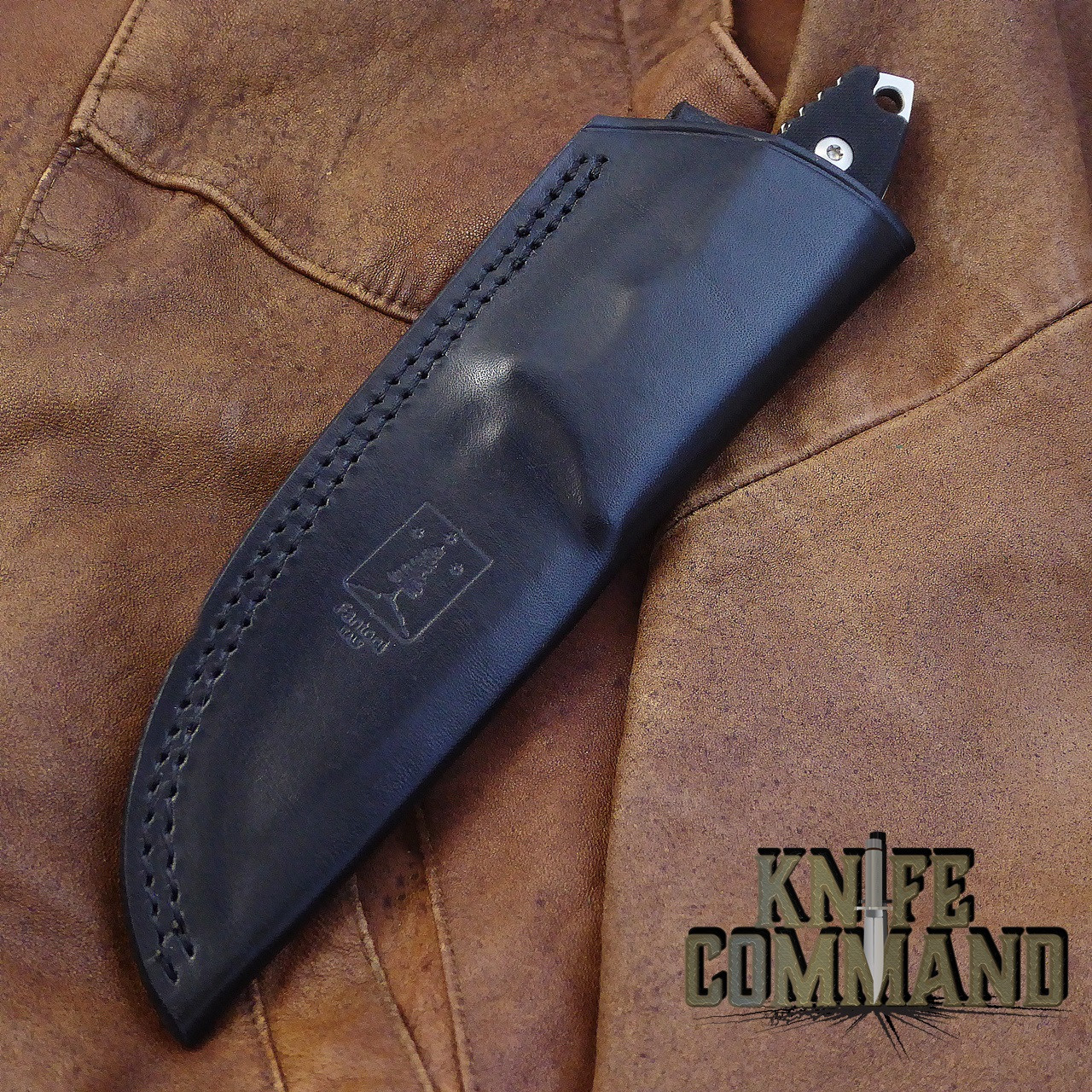 Fantoni HB Fixed Blade William Harsey Combat Tactical Knife S35VN Leather.   Fine Italian black leather sheath.