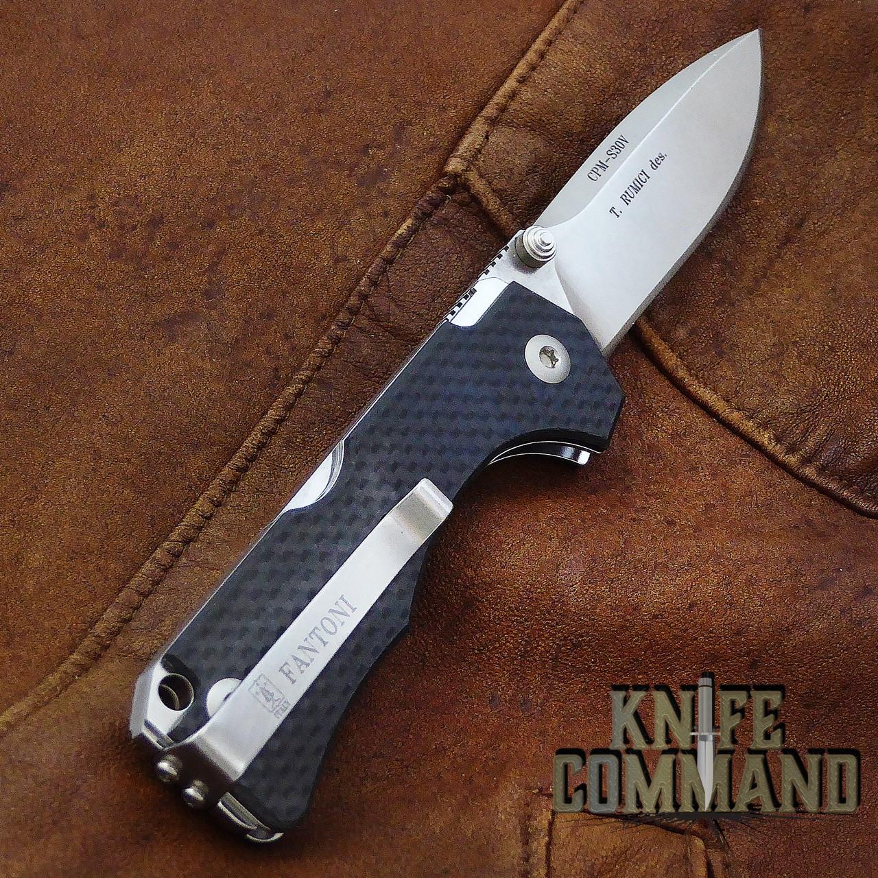 Fantoni Hide Carbon Fiber Lockback Folding Knife by Tommaso Rumici.  Reversible pocket clip.